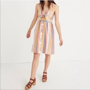 Madewell Striped Tie Front Button Down Midi Dress